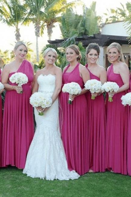 Fuchisa Brautjungfernkleider Lang Günstig | Wandelbar Brautjungfernkleid Hochzeit