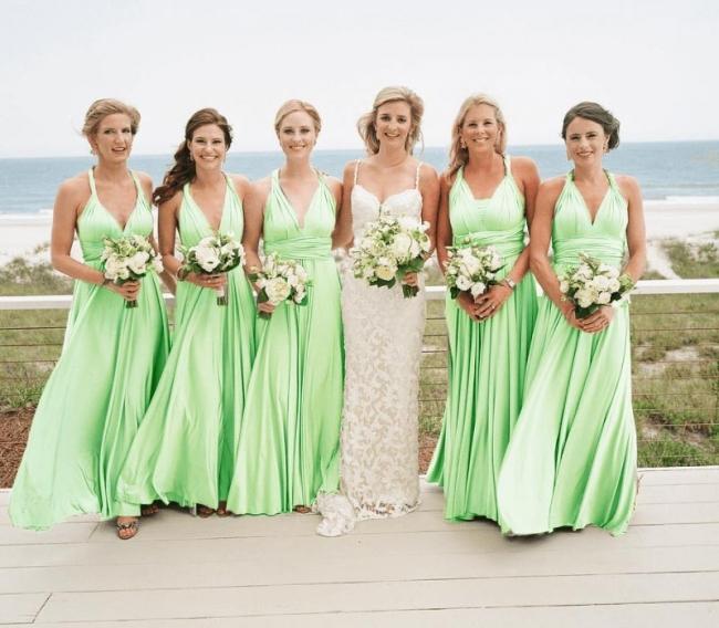 Wandelbare Brautjungfernkleider Hellgrün | Brautjungfernkleid Lang Günstig