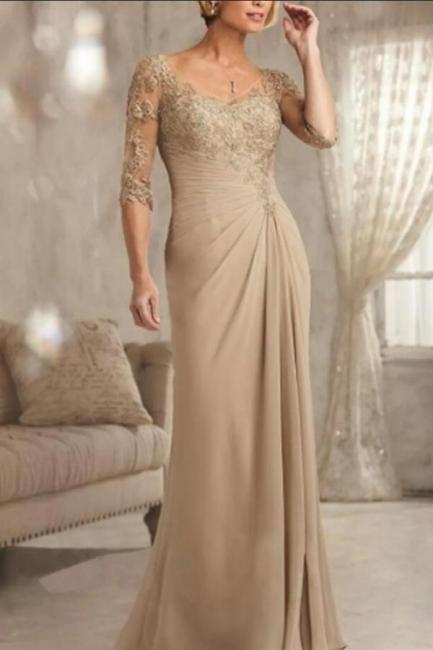 Champagne Brautmutterkleider Mit Ärmel | Kleider für Brautmutter