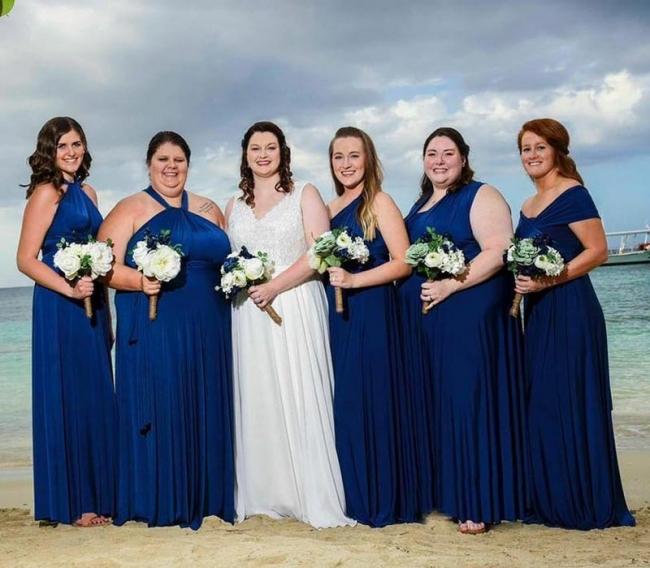 Designer Brautjungfernkleider Royal Blau   Wandelbares Brautjungfernkleid Lang Günstig