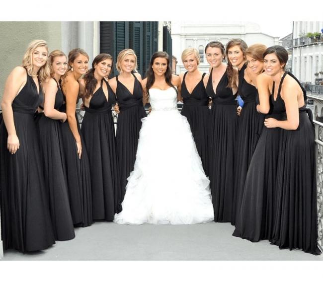 Schwarzes Brautjungfernkleid Wandelbar   Brautjungfernkleider Lang Günstig