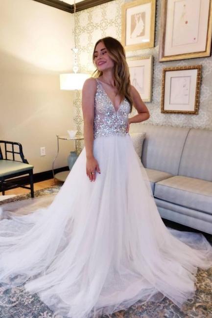 Designer Brautkleider A Linie   Tüll Hochzeitskleider V Ausschnitt