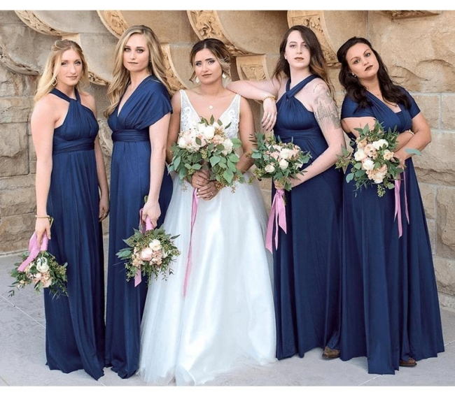 Elegante Brautjungfernkleider Navy Blau | Wandelbares Brautjungfernkleid Lang