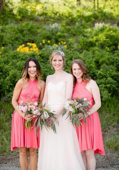 Pink Convertible Bridesmaid Dresses | Short bridesmaid dress cheap