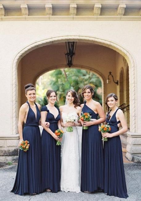 Navy Blau Brautjungfernkleider Lang | Brautjungfernkleid Wandelbar Günstig