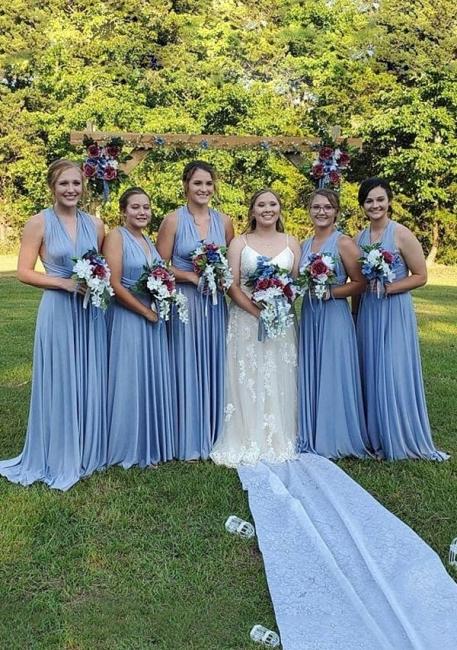 Dusty Blue Bridesmaid Dresses Long Cheap | Convertible Bridesmaid Dress Online