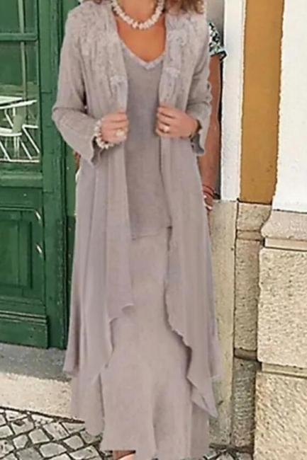 Grau Brautjungfernkleider Mit Jacket | Lange Kleider Für Brautmutter