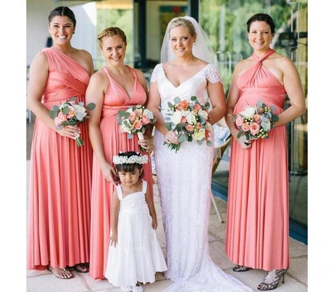 Kleid Rosa Brautjungfer | Wandelbare Brautjungfernkleider Lang