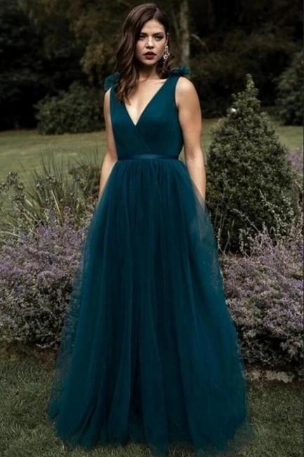 Schlichtes Abendkleid Lang V Ausschnitt   Abendkleider Dunkel Grün