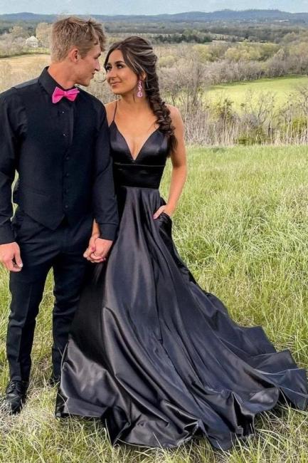 Simple evening dress long black   Prom dresses cheap