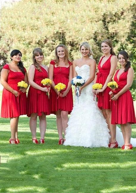 Rote Wandelbare Brautjungfernkleider Kurz | Brautjungfernkleid Günstig