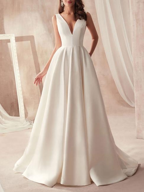Schliches Hochzeitskleid A Linie | Brautkleider Günstig Online