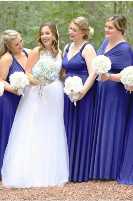 Royal Blau Brautjungfernkleid Lang | Umwandelbare Brautjungfernkleider Günstig