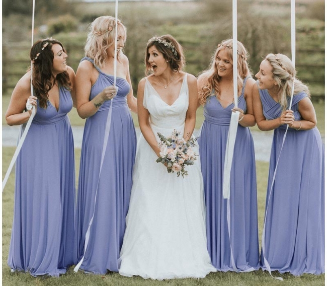 Elegante Brautjungfernkleider Lang   Umwandelbare Brautjungfernkleid Günstig