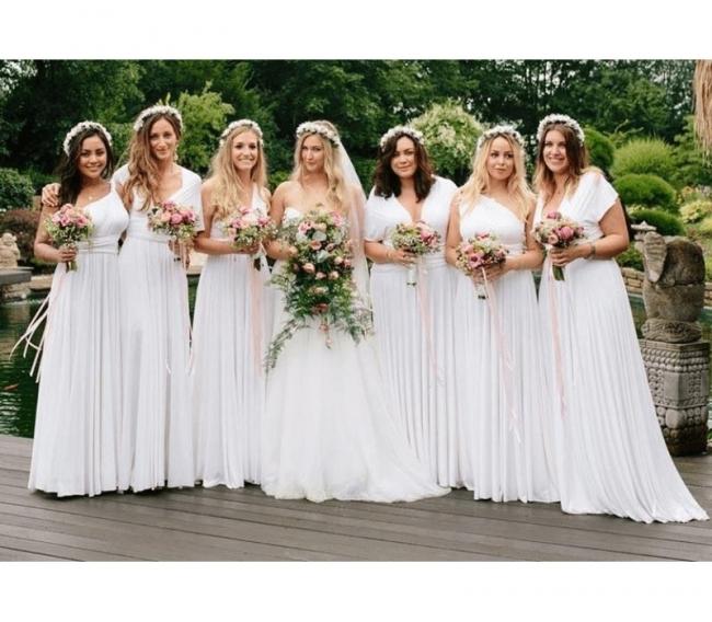 Weiße Brautjungfernkleider Wandelbar Lang |  Kleider für Brautjungfern