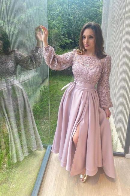 Rosa Abendkleider Lang Mit Ärmel | Abiballkleider Spitze