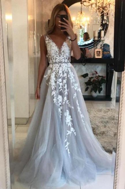 Elegant Abendkleid Lang V Ausschnitt   Abendkleider mit Spitze