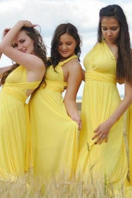 Gelb Brautjungfernkleider Lang Günstig   Wandelbare Kleider Für Brautjungfern