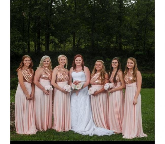 Rosa Wandelbare Brautjungfernkleider Lang | Günstige Kleider Für Brautjungfern