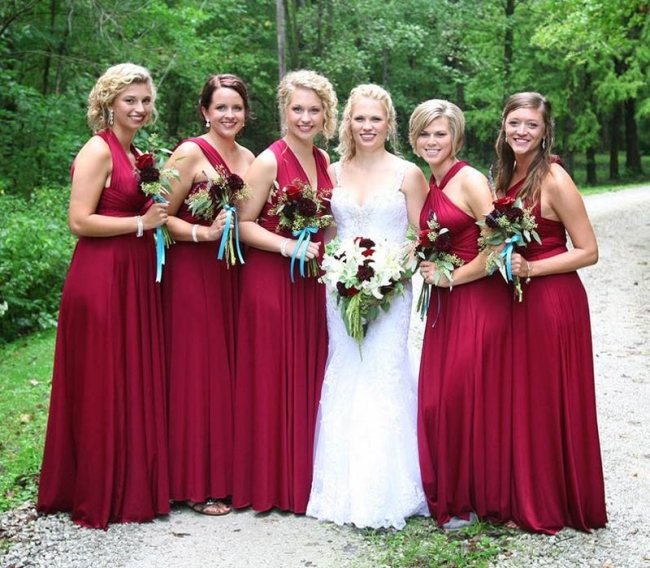 Brautjungfernkleider Lang Weinrot | Umwandelbare Brautjungfernkleid Günstig