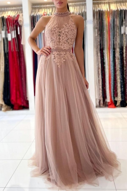 Beautiful evening dress long pink | Prom dresses with lace