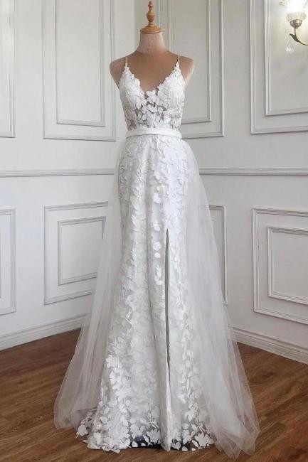 Evening dresses long white | Lace prom dresses