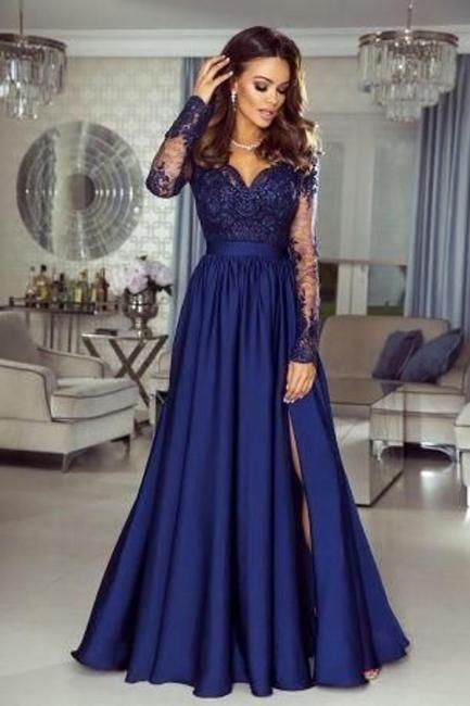 Elegante Abendkleider Mit Ärmel | Blaue Abiballkleider Lang Günstig