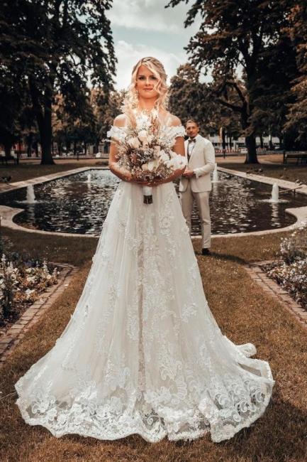 Designer Hochzeitskleider A Linie Spitze | Brautmoden Online