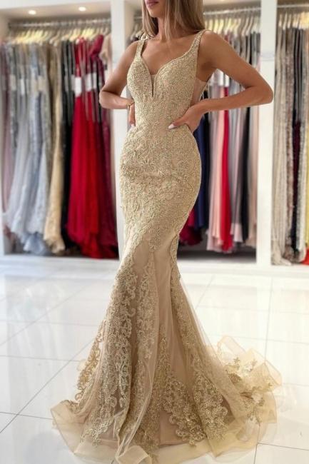 Gold Abendkleider Lang Spitze   Abiballkleider Günstig