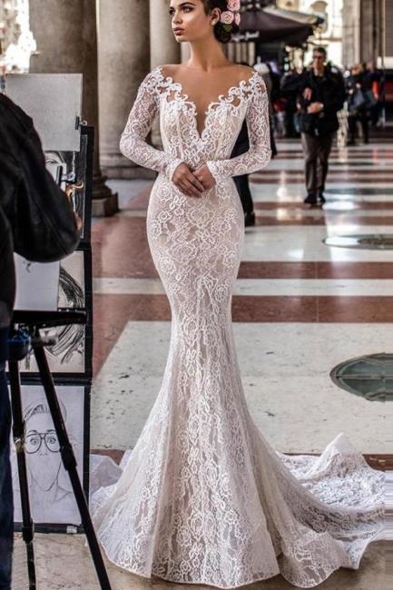 Designer wedding dresses mermaid lace | Wedding dresses with sleeves