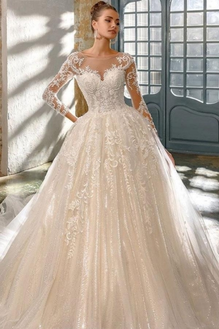 Elegant wedding dresses with glitter   Wedding dresses a line with sleeves