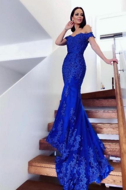König Blaue Abendkleider Lang   Abiballkleider Spitze