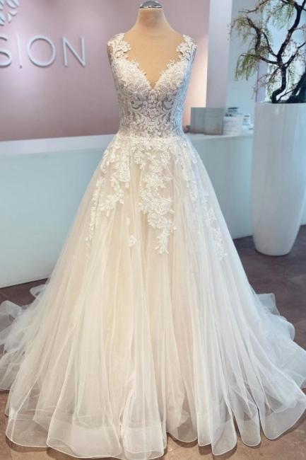 Günstige Hochzeitskleider mit Spitze | Brautkleider A Linie