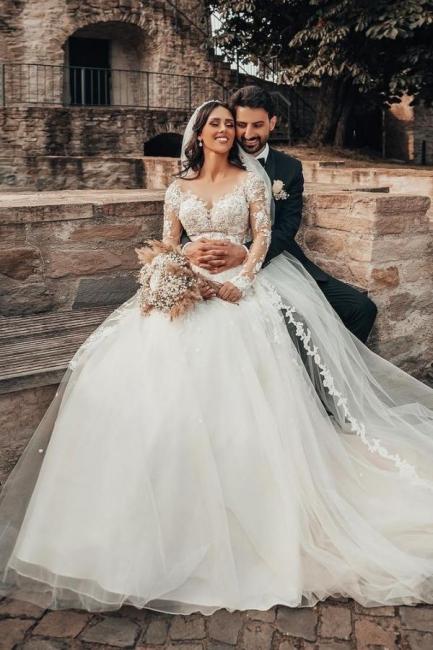 Elegante Brautkleider mit Ärmel   Hochzeitskleider A Linie Spitze