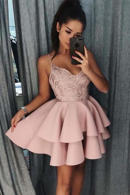 Elegante Abendkleider Mit Spitze | Cocktailkleider Kurz Rosa