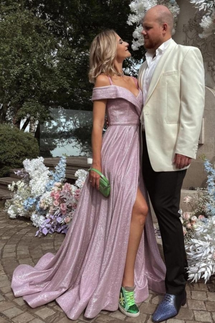 Evening dresses long pink   Prom dresses with glitter