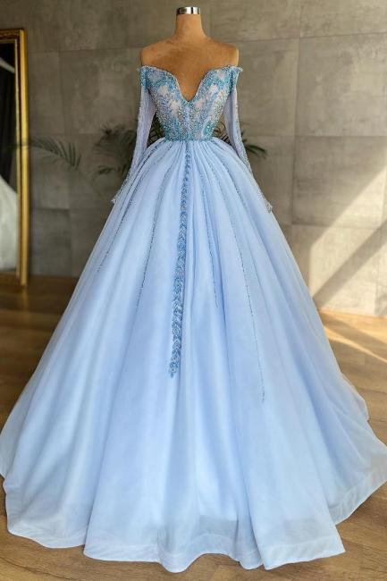 Heller Blau Abendkleider Mit Ärmel   Abiballkleider Lang Günstig