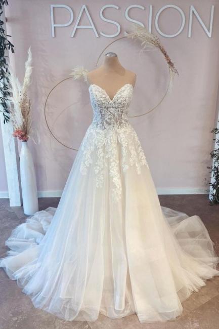 Schöne Brautkleider A linie Spitze   Hochzeitskleider Günstig Online