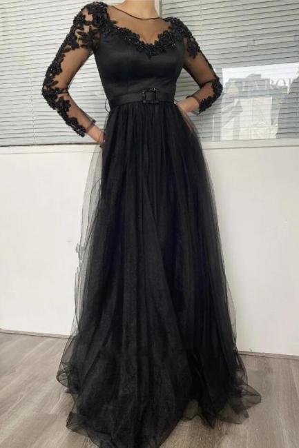 Schlichte Abendkleider Lang Schwarz | Abendmoden mit Ärmel