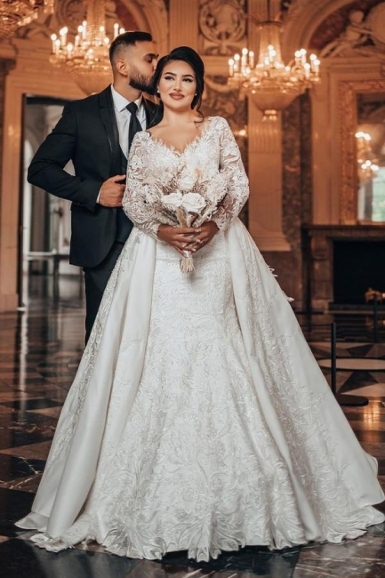 Luxury Wedding Dresses A Line Lace | Wedding dresses with sleeves