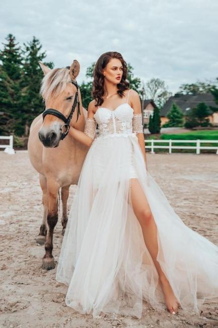 Schlichtes Hochzeitskleid mit Spitze | Boho Brautkleider A Linie
