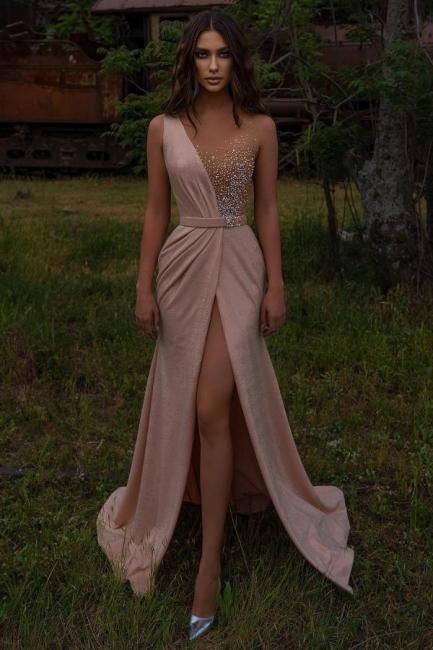 Rosa Abendkleider Lang V Ausschnitt | Abiballkleider mit Glitzer