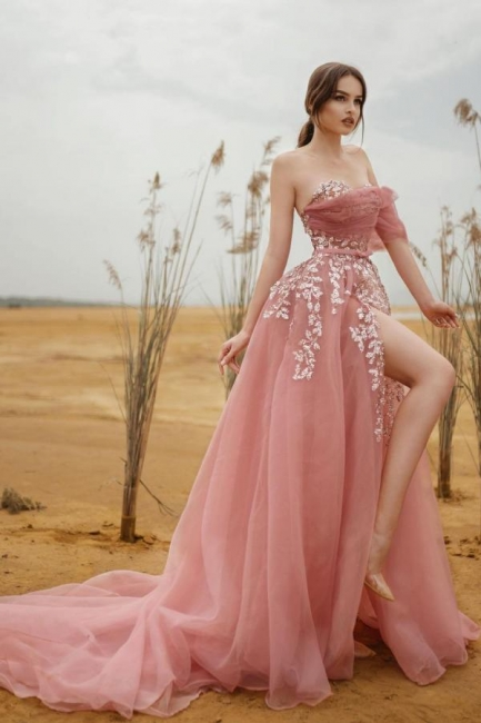 Beautiful evening dresses long pink | Prom dresses with glitter