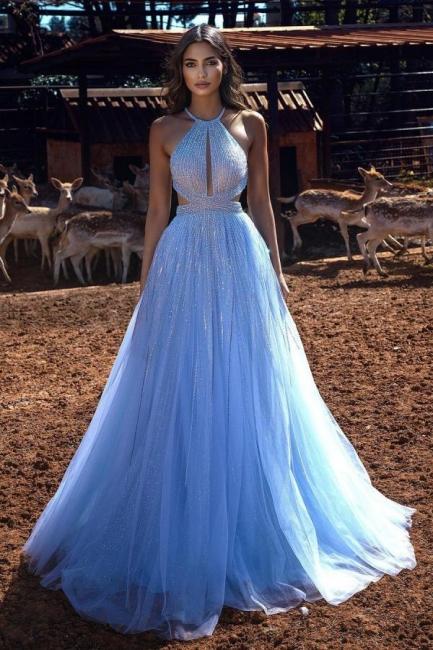 Luxury evening dresses long blue   Evening wear online