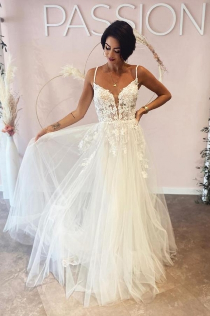 Simple wedding dresses A line lace | Boho wedding dresses cheap