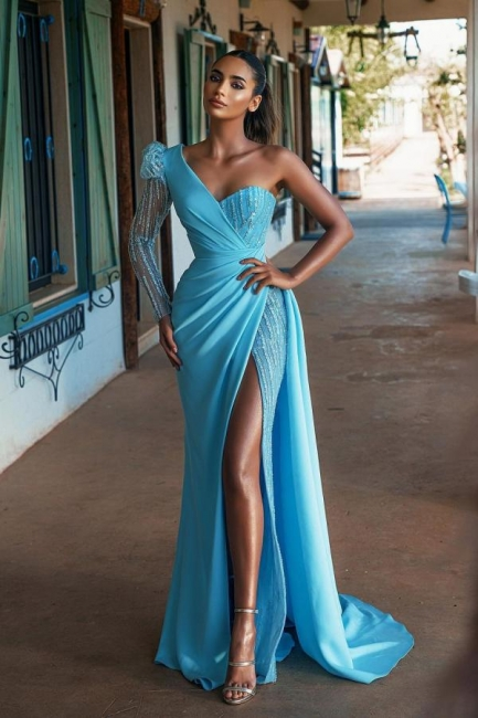 Blue evening dresses long glitter | Prom dresses with sleeves