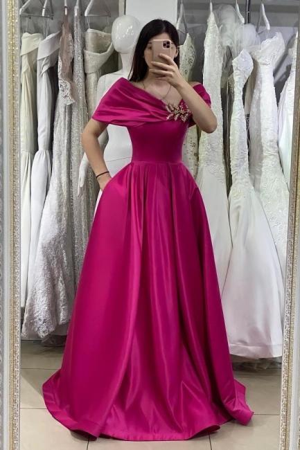 Fuchisa Evening Dresses Long Cheap | Simple prom dress