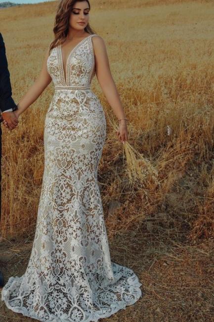Schöne Hochzeitskleider Meerjungfrau Spitze | Brautkleider Günstig