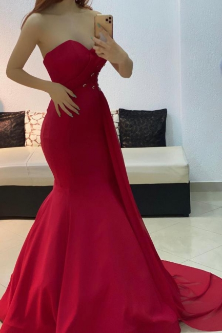 Red Evening Dresses Long Cheap | Mermaid prom dresses