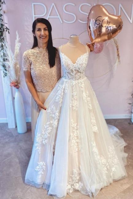 Designer wedding dresses with lace | Buy A Line Wedding Dresses